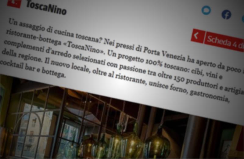 """Il Corriere della Sera """"Cucina"""" parla di Toscanino"""